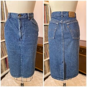 Vintage 80's Levi Brown Tab High Waist Jean Skirt